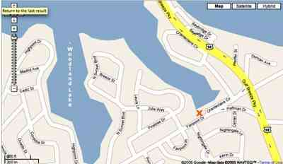 Gulf-Breeze:-Chanteclaire-Circle_03.jpg:  gulf breeze, lake, bay, water, map, google