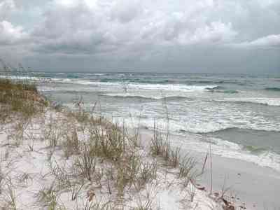 Gulf-Islands-National-Seashore:-Fort-Pickens:-Battery-234_05.jpg:  dunes, sea oats, barrier island, dunes, surf, tropical storm, gulf of mexico