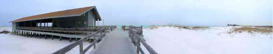 Gulf-Islands-National-Seashore:-Langdon-Beach_03.jpg:  langdon, ft. pickens, gulf of mexico, beach, walkway, deck, pier, walkover, building, shelter, gulf coast