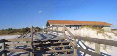 Gulf-Islands-National-Seashore:-Langdon-Beach_06.jpg:  gulf coast, boardwalk, walkover, battery langdon, dune, picnic area, gulf of mexico