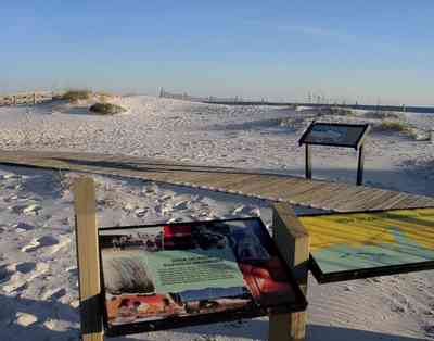 Gulf-Islands-National-Seashore:-Opal-Beach_01.jpg:  picnic area, kiosk, information center, boardwalk, deck, dune, beach, gulf of mexico