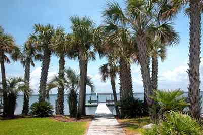 Navarre:-7332-Grand-Navarre-Blvd_04.jpg:  palm trees, dock, pier, deck, santa rosa sound, gulf of mexico