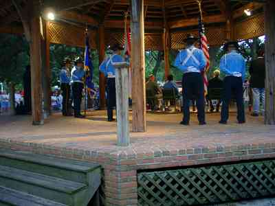 Pensacola:-Seville-Historic-District:-Seville-Square_13.jpg:  rotc drill team, assembly, american flag
