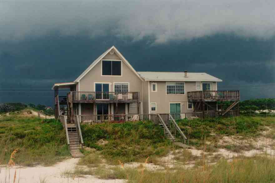 Perdido-Key:-Cape-House_07.jpg:  beach house, gulf of mexico, sea oats, storm, cumulus cloud, deck, porch, balcony