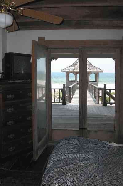 Perdido-Key:-Gothic-House_08q.jpg:  bedroom, gazebo, gulf of mexico, heartpine lumber, porch, screened porch