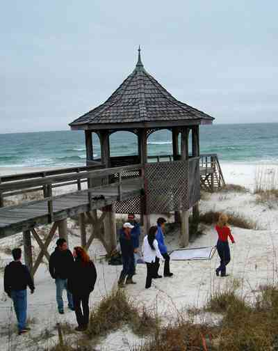 Perdido-Key:-Gothic-House_10.jpg:  gazebo, gulf of mexico, wrangler jeans, boardwalk, pier, dunes, sea oats